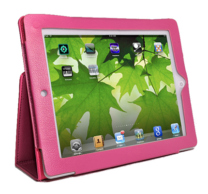 Pink Leather Stand Case For Apple iPad2