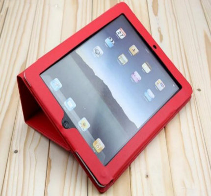 Red Hard Protective iPad2 PU Leather Case with Stand