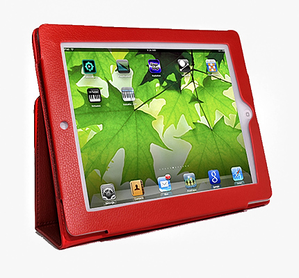 Red Leather Stand Case For Apple iPad2