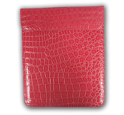 Pink Alligator Grain Button Short Flap iPad2 Cover